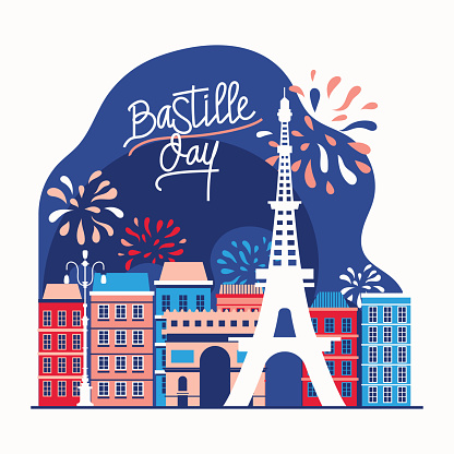 Illustration Happy Bastille Day Flyer and Greeting Card For The French National Day