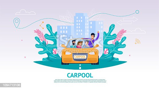 Illustration Happy Company People in Car, Carpool. Banner Vector Joint Train Company Friends. Travel from Point A to Point B. Yellow Car People Background Urban Landscape. Guy Leaned Out Car Window