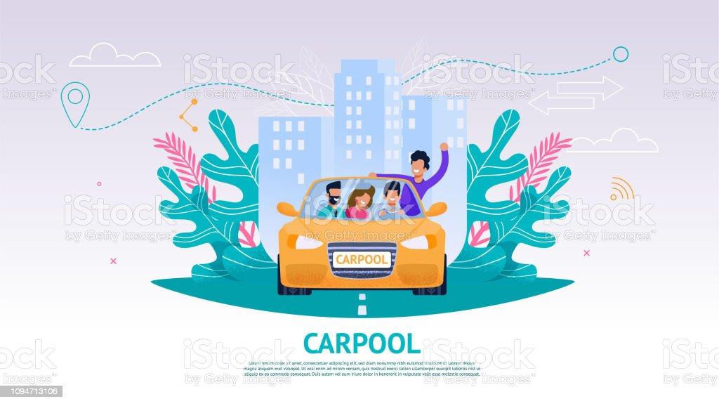 Gens heureux société illustration dans la voiture, covoiturage - Illustration vectorielle