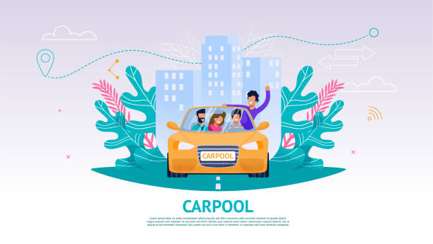bildbanksillustrationer, clip art samt tecknat material och ikoner med illustration glada företag personer i bil, bilpool - kör