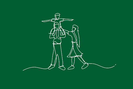 illustration Happy family have fun with continuous white line drawing style,Draw white line of Children playing in garden park,Creative Simple lines idea family ecology environment clipart