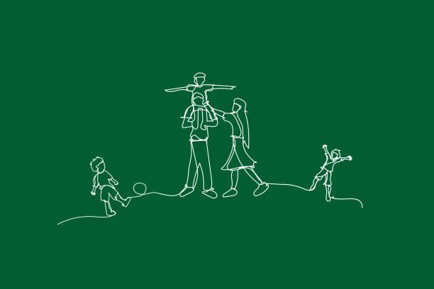 illüstrasyon mutlu aile sürekli beyaz çizgi çizim tarzı ile eğlenin, bahçe park oynarken çocuklar beyaz çizgi çizin, yaratıcı basit çizgiler fikir aile ekoloji ortamı - mountain top stock illustrations