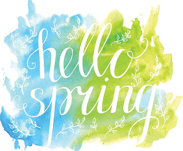 abbildung hallo frühling mit weißen worte auf helle aquarell hintergrund - hello stock-grafiken, -clipart, -cartoons und -symbole