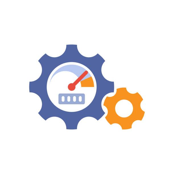 illustrazioni stock, clip art, cartoni animati e icone di tendenza di icona dell'illustrazione per le prestazioni del motore - efficacia