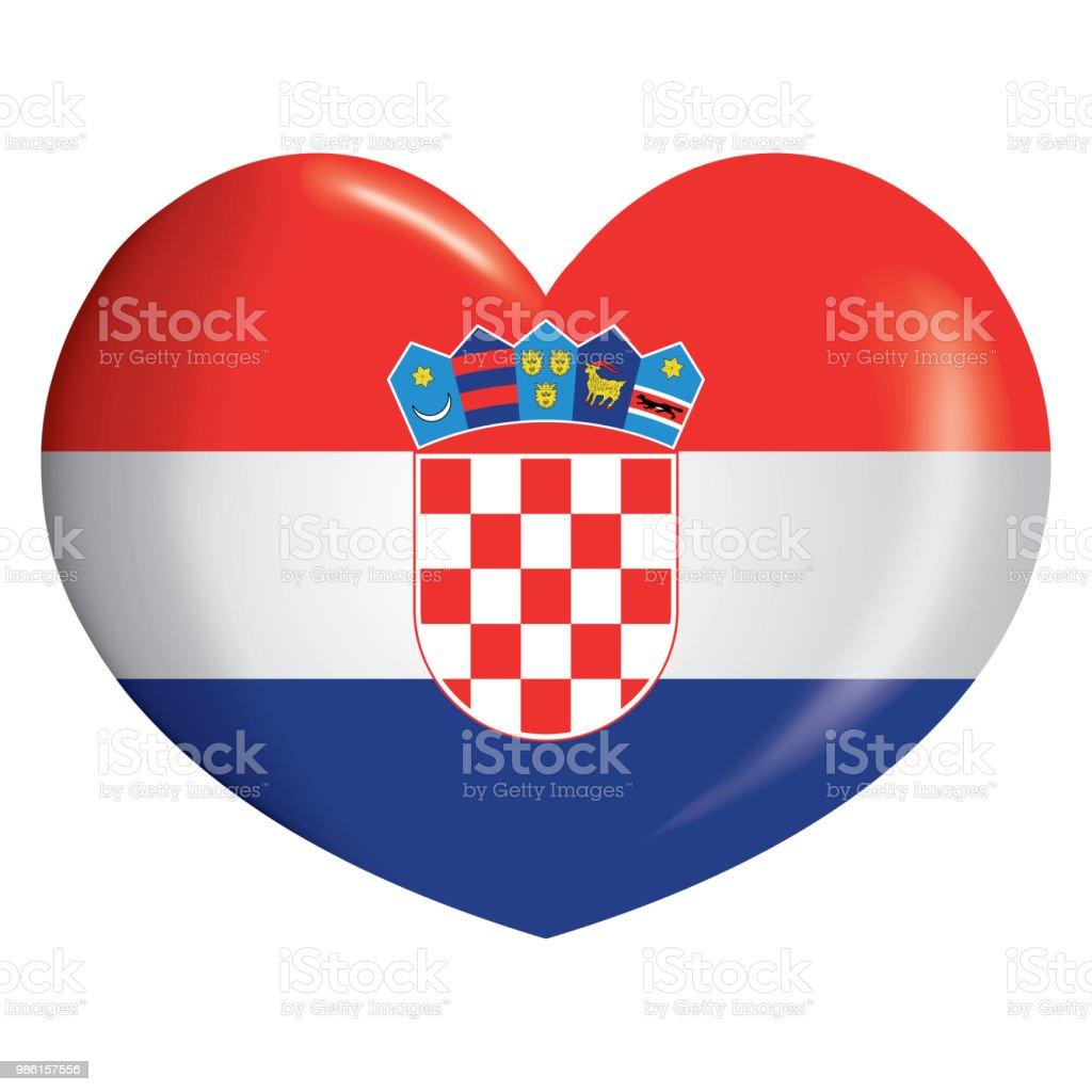 Corazón del icono de ilustración con la bandera de Croacia. Ideal para catálogos de materiales institucionales y de la geografía - ilustración de arte vectorial