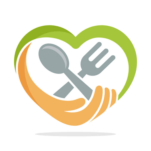 abbildung symbol mit dem konzept der lebensmittel-spende - essen mund benutzen stock-grafiken, -clipart, -cartoons und -symbole