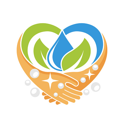 Illustration icon with the concept of likes to wash hands, maintain cleanliness & health.