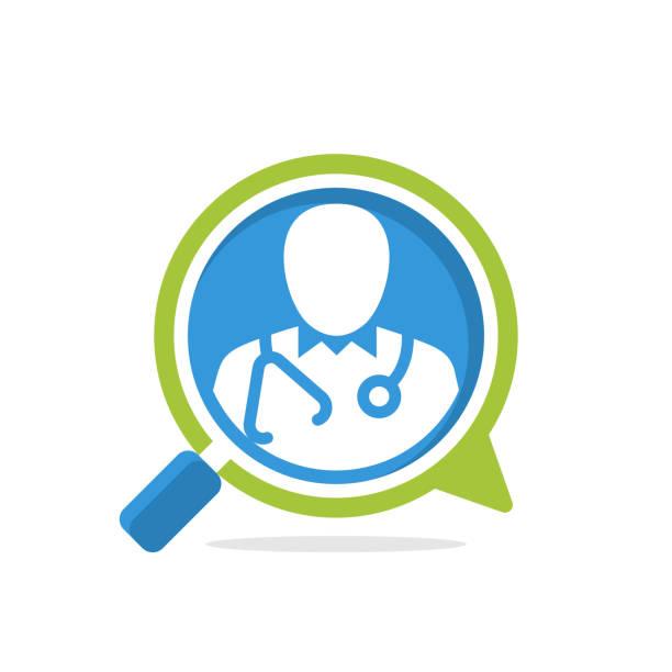 illustrationssymbol mit dem konzept der suche nach gesundheitsinformationen durch rücksprache mit einem arzt - feedback stock-grafiken, -clipart, -cartoons und -symbole