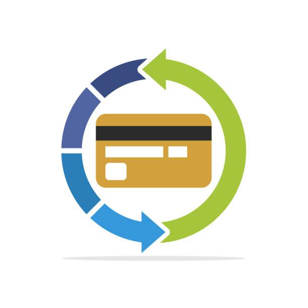 значок иллюстрации с концепцией процесса восстановления кредитной карты - credit card stock illustrations