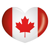 Illustration icone heart with Canada flag. Ideal for catalogs of institutional materials and geography