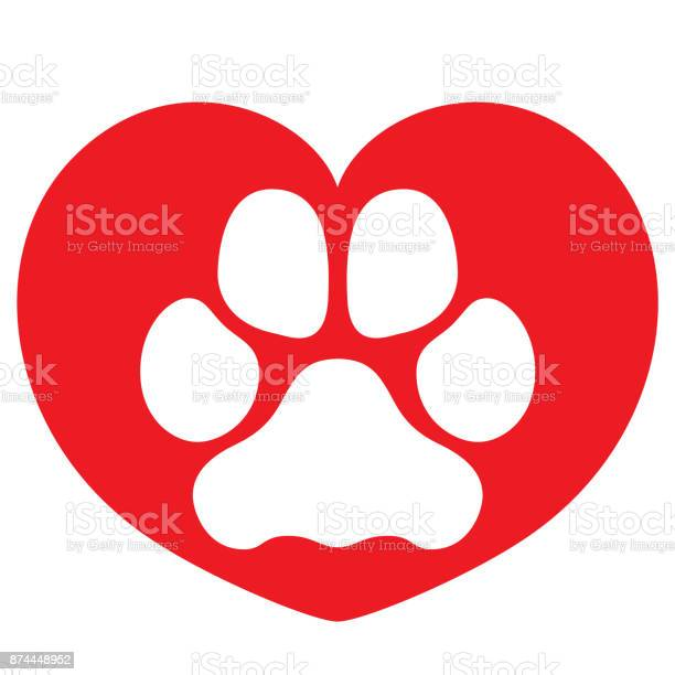 Illustration icons dog paw symbol dog with heart ideal for visual vector id874448952?b=1&k=6&m=874448952&s=612x612&h=oudjugirhqr7r3hoimgw0ee23nsxmcfae80gctf2jhc=