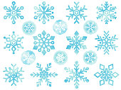This is a watercolor style illustration icon set of various snowflakes.
