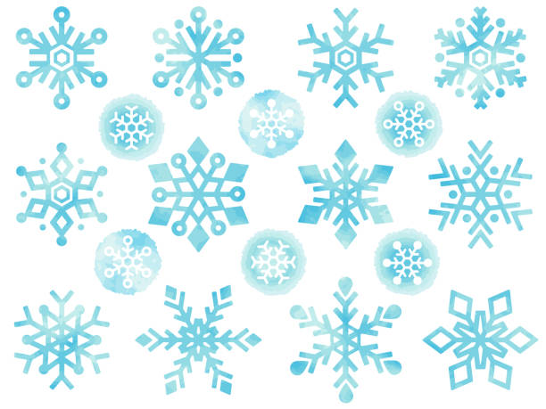 Illustration icons set of various snowflakes in watercolor style This is a watercolor style illustration icon set of various snowflakes. ice crystal stock illustrations