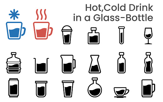 Illustration icons vector sets of Hot and Cold drink in a cup glass and bottle