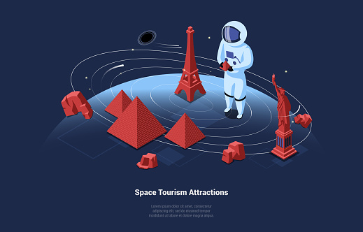 3D Illustration In Cartoon Style With Space Tourism Attractions Writing. Isometric Composition Of Astronaut Tourist In Protective Suit In Open Space Visiting Landmarks. Dark Background With Stars