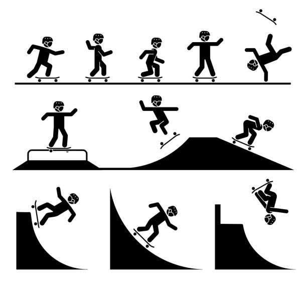 bildbanksillustrationer, clip art samt tecknat material och ikoner med illustration i form av piktogram som representerar gör akrobatik med skateboard. - skatepark