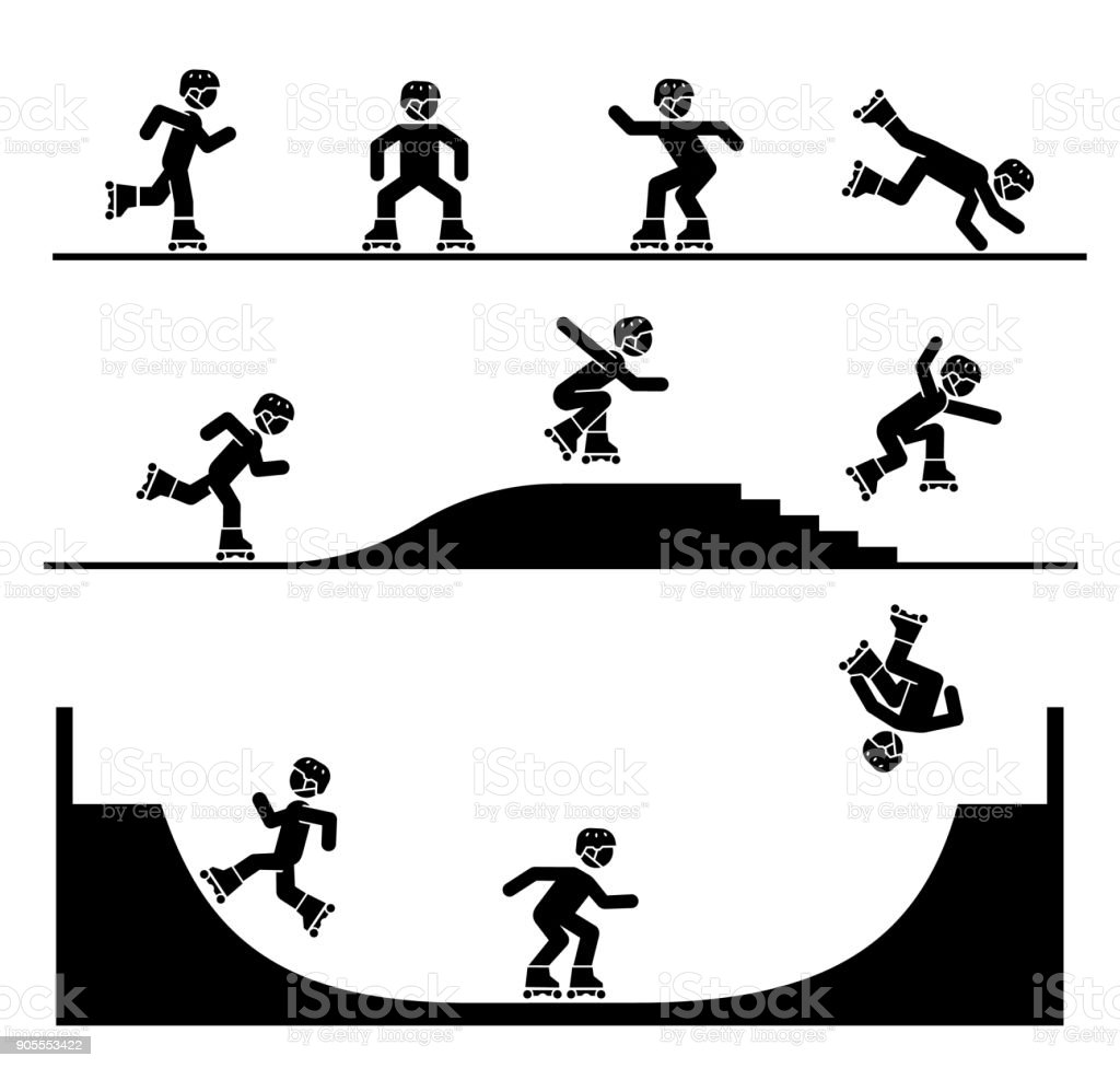 Illustration in form of pictograms which represent doing acrobatics with roller skates. vector art illustration