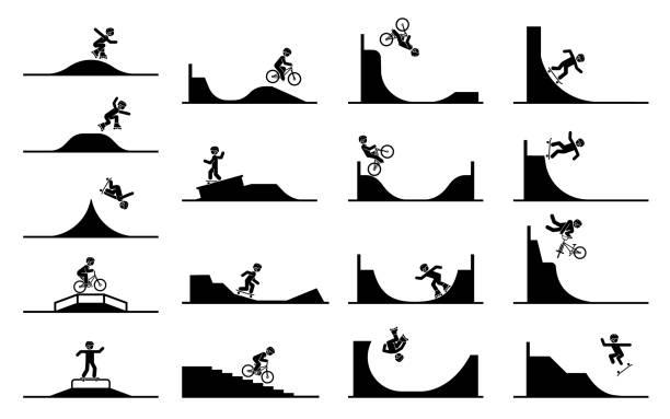 bildbanksillustrationer, clip art samt tecknat material och ikoner med illustration i form av piktogram som representerar gör akrobatik med rollern skridskor, cykel och skateboard. - skatepark