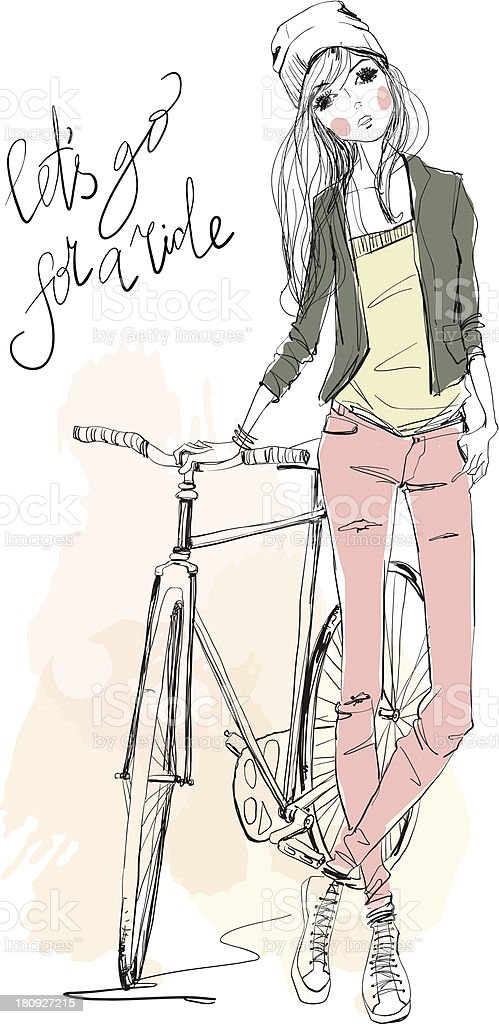 Illustration in pastel colors of girl posing next to a bike royalty-free stock vector art