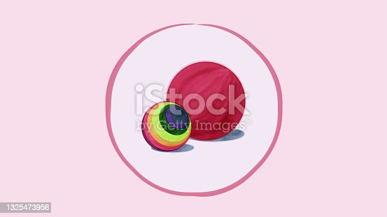 istock illustration in watercolor style two balls 1325473956
