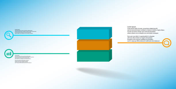 3D illustration infographic template. The embossed cube is horizontally divided to three color parts. Object is arranged on blue white background. Lines with signs are on sides. vector art illustration