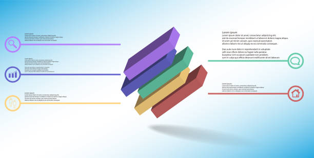 3D illustration infographic template. The embossed cube is horizontally divided to five shifted parts. Object is askew arranged on blue white background. Lines with signs are on sides. vector art illustration