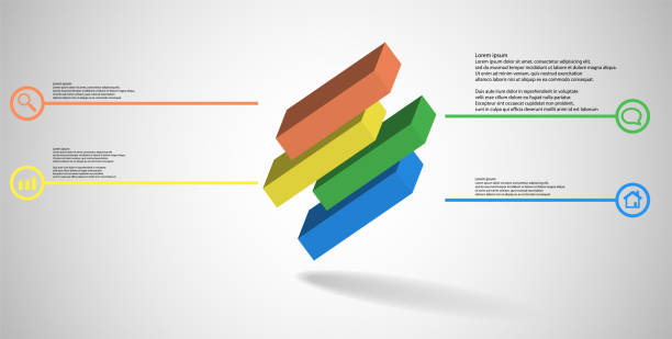 3D illustration infographic template. The embossed cube is horizontally divided to four shifted parts. Object is askew arranged on grey white background. Lines with signs are on sides. vector art illustration