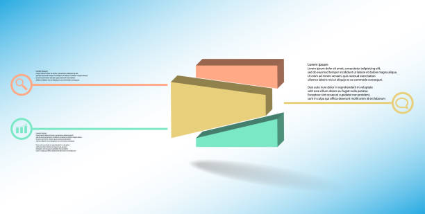 3D illustration infographic template. The embossed cube is randomly divided to three shifted color parts. Object is arranged on blue white background. Lines with signs in circles are on sides. vector art illustration