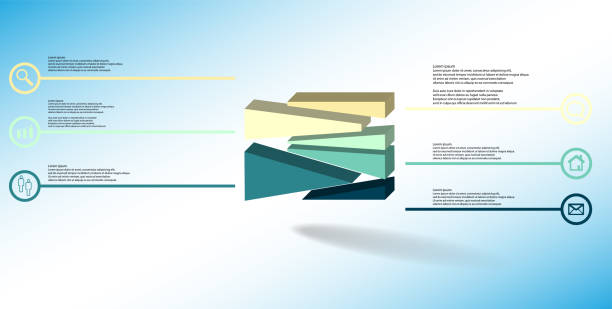 3D illustration infographic template. The embossed cube is randomly divided to six shifted color parts. Object is arranged on blue white background. Lines with signs in circles are on sides. vector art illustration