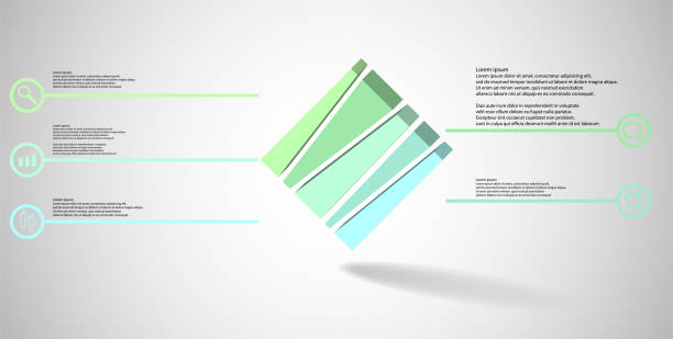 3D illustration infographic template. The embossed cube is vertically divided to five shifted parts. Object is askew arranged on grey white background. Lines with signs are on sides. vector art illustration