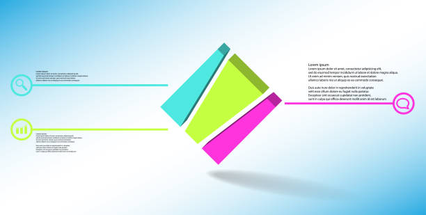 3D illustration infographic template. The embossed cube is vertically divided to three shifted parts. Object is askew arranged on blue white background. Lines with signs are on sides. vector art illustration