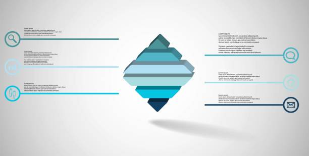 3D illustration infographic template. The embossed rhomb is horizontally divided to six color parts. Object is on grey white background. Lines with signs in circles are on sides. vector art illustration