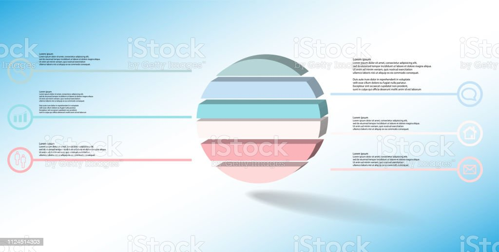 3D illustration infographic template. The embossed ring is divided to six color parts. Object is arranged on blue white background. Color lines with simple signs in circles are on sides. vector art illustration