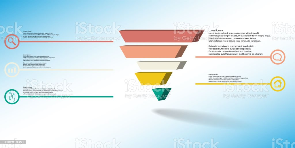 3D illustration infographic template. The embossed triangle is divided to five color shifted parts. Object is arranged on blue white background. Color lines with simple signs in circles are on sides. vector art illustration