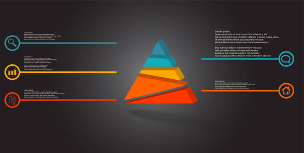 3D illustration infographic template. The embossed triangle is randomly divided to five color parts. Object is arranged on grey black background. Lines with signs in circles are on sides. vector art illustration
