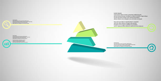 3D illustration infographic template. The embossed triangle is randomly divided to four shifted color parts. Object is arranged on grey white background. Lines with signs in circles are on sides. vector art illustration