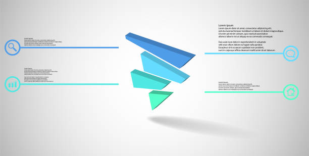 3D illustration infographic template. The embossed triangle is randomly divided to four color shifted parts. Object is askew arranged on grey white background. Lines with signs in circles are on sides. vector art illustration