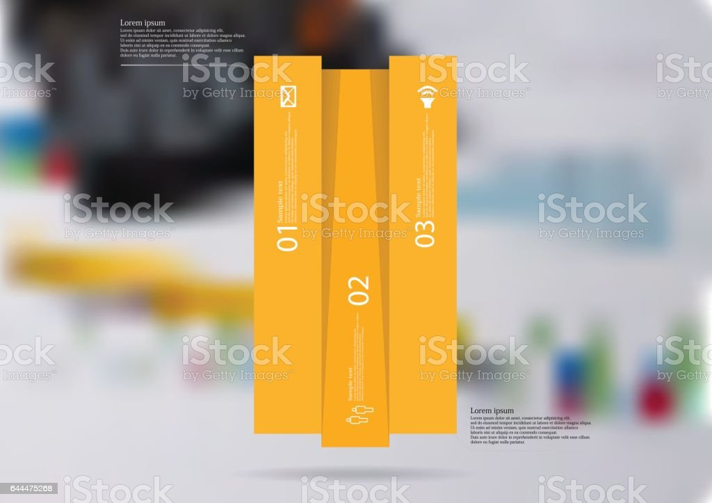 Illustration infographic template with bar vertically divided to three orange parts vector art illustration