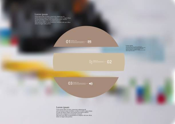 Illustration infographic template with circle horizontally divided to three brown standalone parts vector art illustration