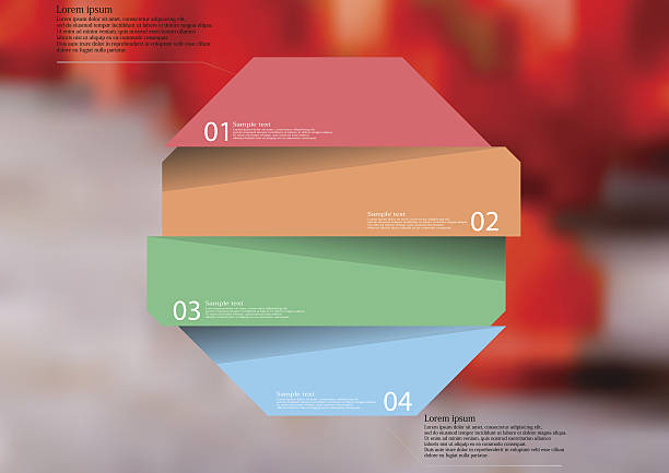 Illustration infographic template with color octagon divided to four parts vector art illustration