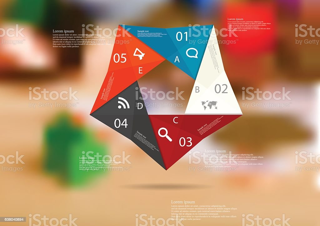 illustration infographic template with color origami pentagon from