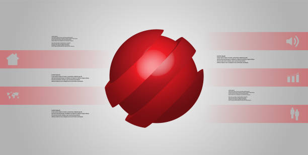 3D illustration infographic template with motif of askew sliced ball to five red parts which are shifted. Simple sign and text is in color banners. Light grey gradient is used as background. vector art illustration