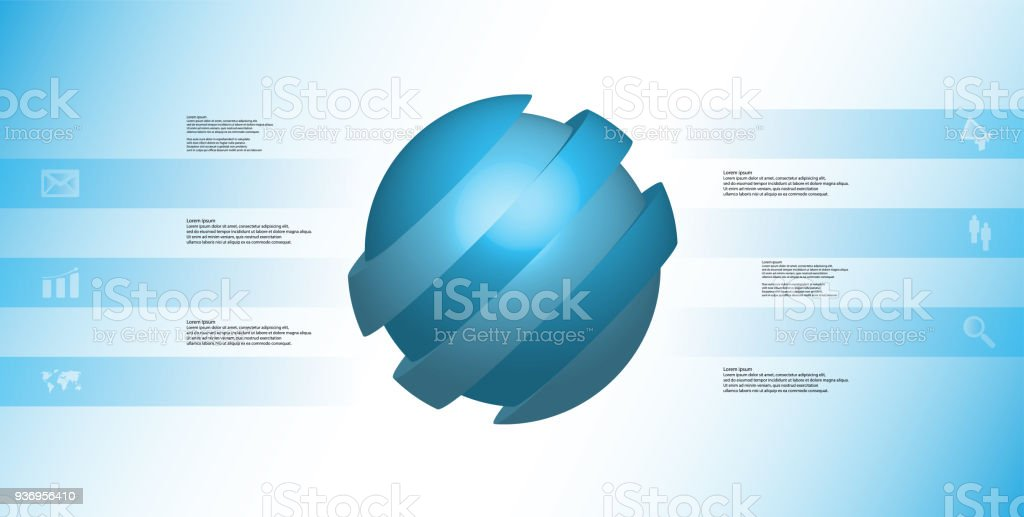 3D illustration infographic template with motif of askew sliced ball to six blue parts which are shifted. Simple sign and text is in color banners. Light blue gradient is used as background. vector art illustration