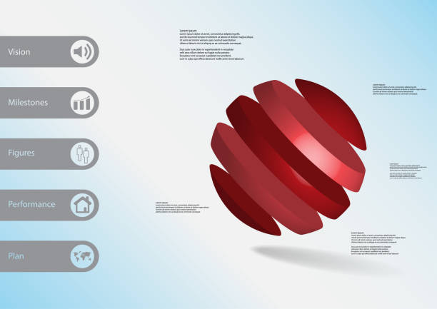 3D illustration infographic template with motif of ball askew divided to five red slices with simple sign and text on side in bars. Light blue gradient used as background. vector art illustration