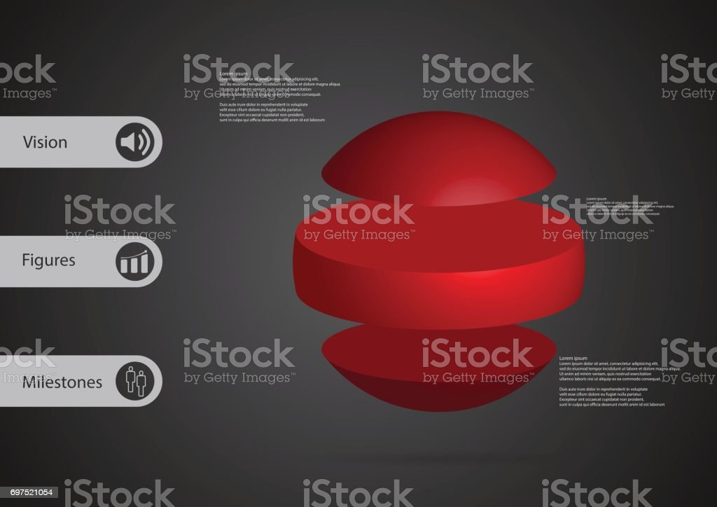 3D illustration infographic template with motif of ball horizontally divided to three standalone red sections with simple sign and sample text on side in bars. Dark grey gradient is used as background. vector art illustration