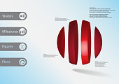 3D illustration infographic template with motif of ball vertically divided to four red parts with simple sign and sample text on side in bars. Light blue gradient is used as background.
