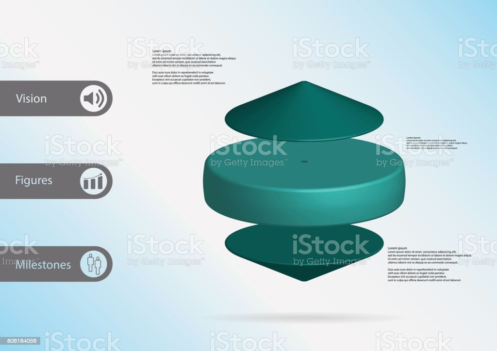 3d illustration infographic template with motif of blue cylinder