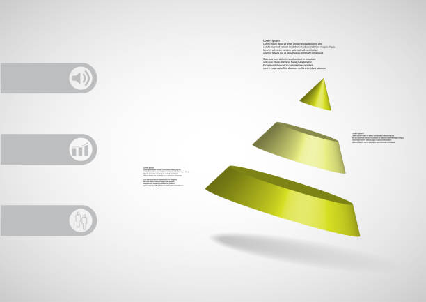 3D illustration infographic template with motif of cone divided to three green parts askew arranged with simple sign and sample text on side in bars. Light grey gradient is used as background. vector art illustration