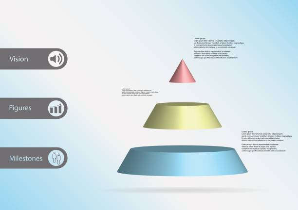 3D illustration infographic template with motif of cone triangle horizontally divided to three color slices with simple sign and sample text on side in bars. Light blue gradient is used as background. vector art illustration