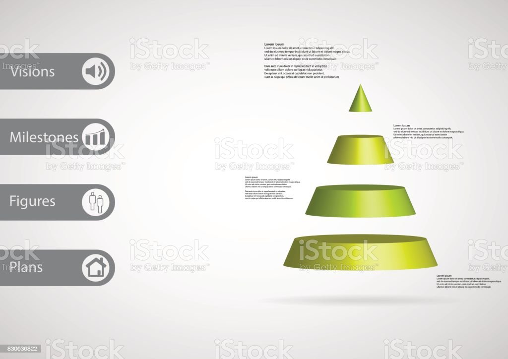 3D illustration infographic template with motif of cone triangle horizontally divided to four green slices with simple sign and sample text on side in bars. Light grey gradient is used as background. vector art illustration